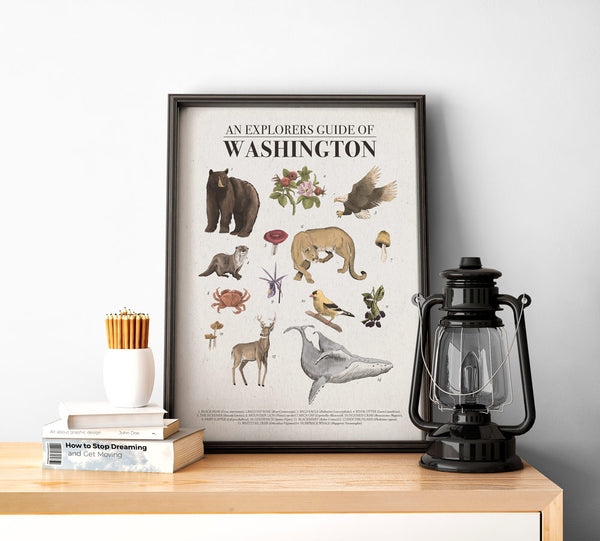 Washington State Poster | Pacific Northwest Hiking Wall Art