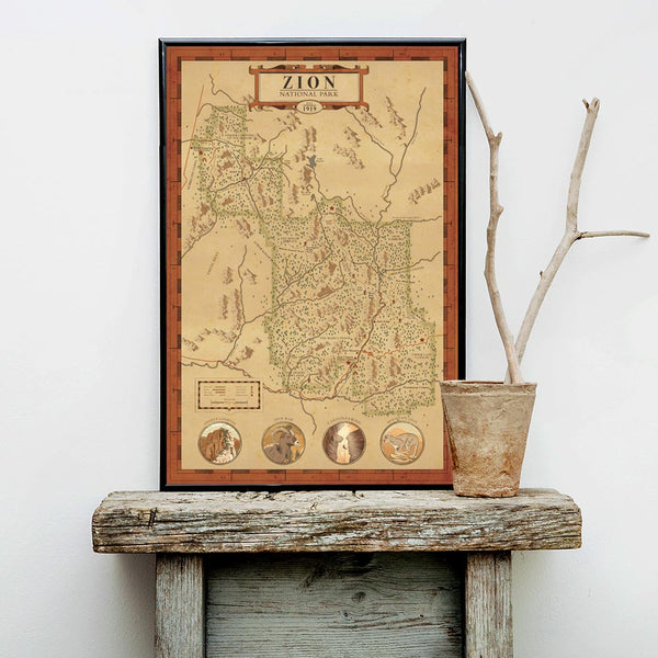Zion National Park Map Print