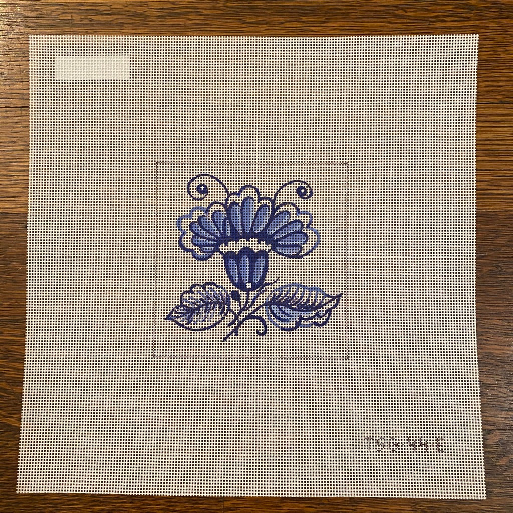 Iris Delft Tile Needlepoint Canvas - needlepoint