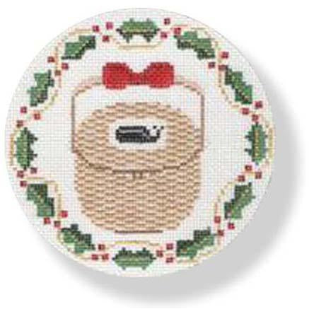 Nantucket Basket Holly Ornament Canvas