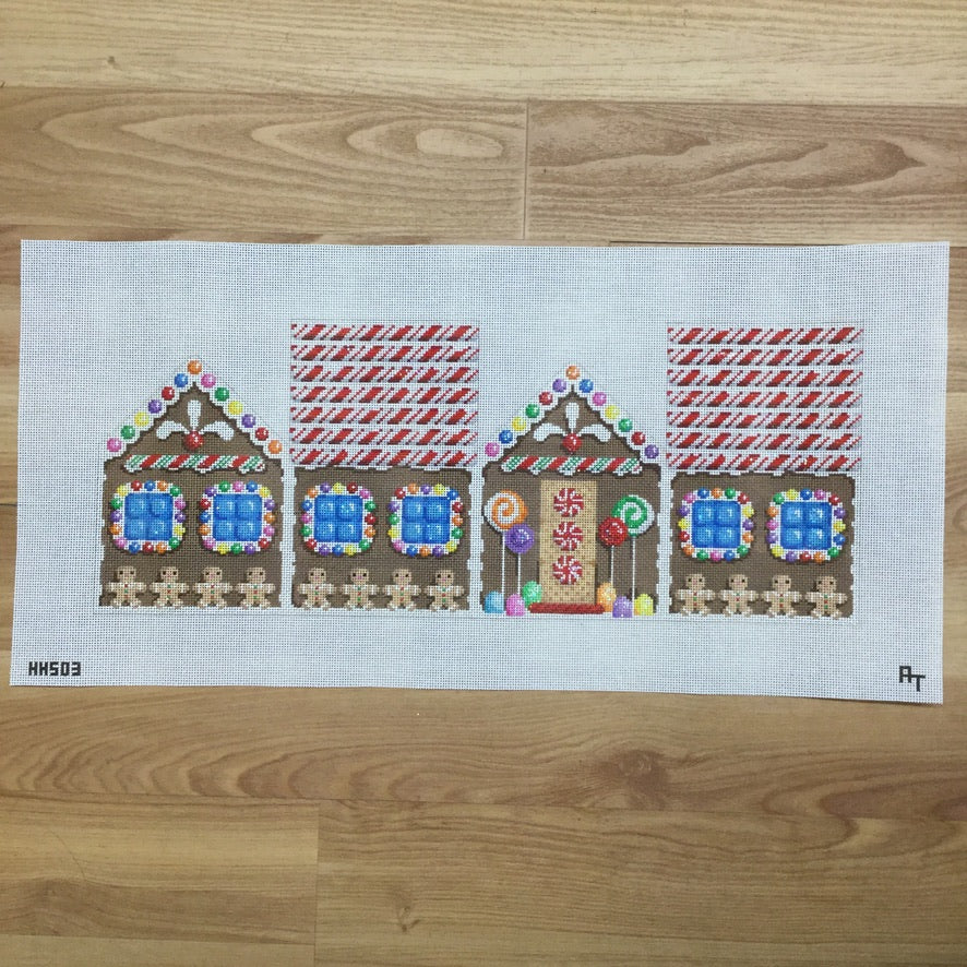 Candy Cane Roof Gingerbread House Canvas - needlepoint