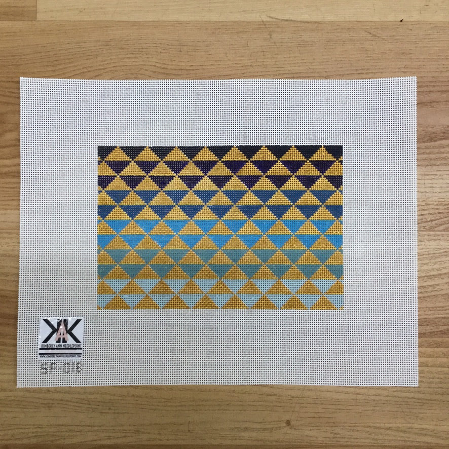 Ombre Triangles Blue Canvas - needlepoint