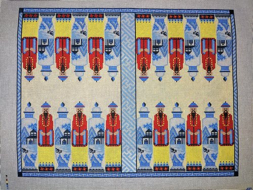 Chinoiserie Backgammon Board Needlepoint Canvas-Needlepoint Canvas-Anne Fisher-KC Needlepoint