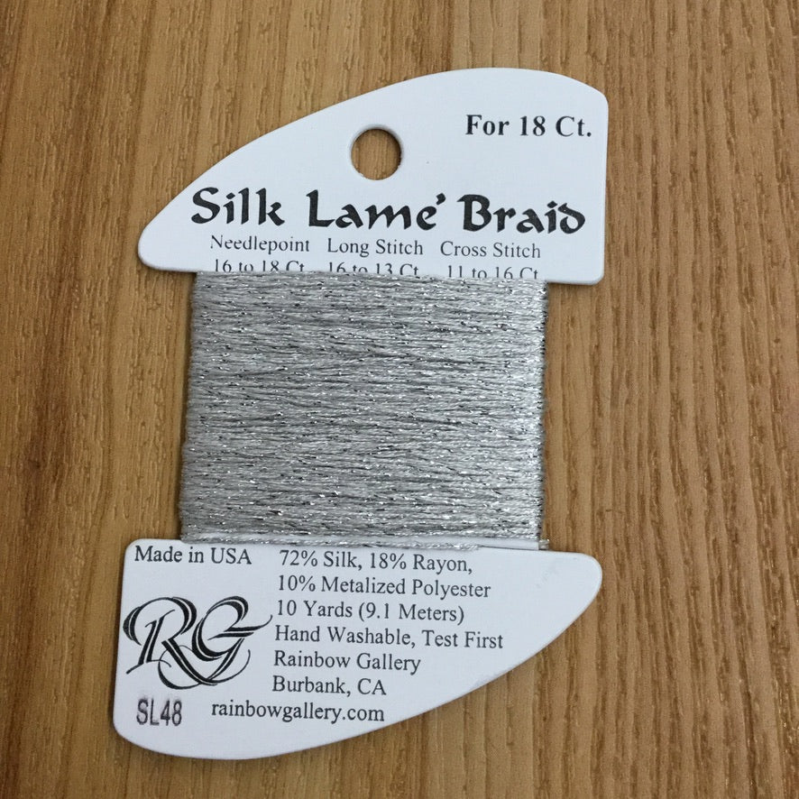 Silk Lamé Braid SL48 Silver-Silk Lamé Braid-KC Needlepoint