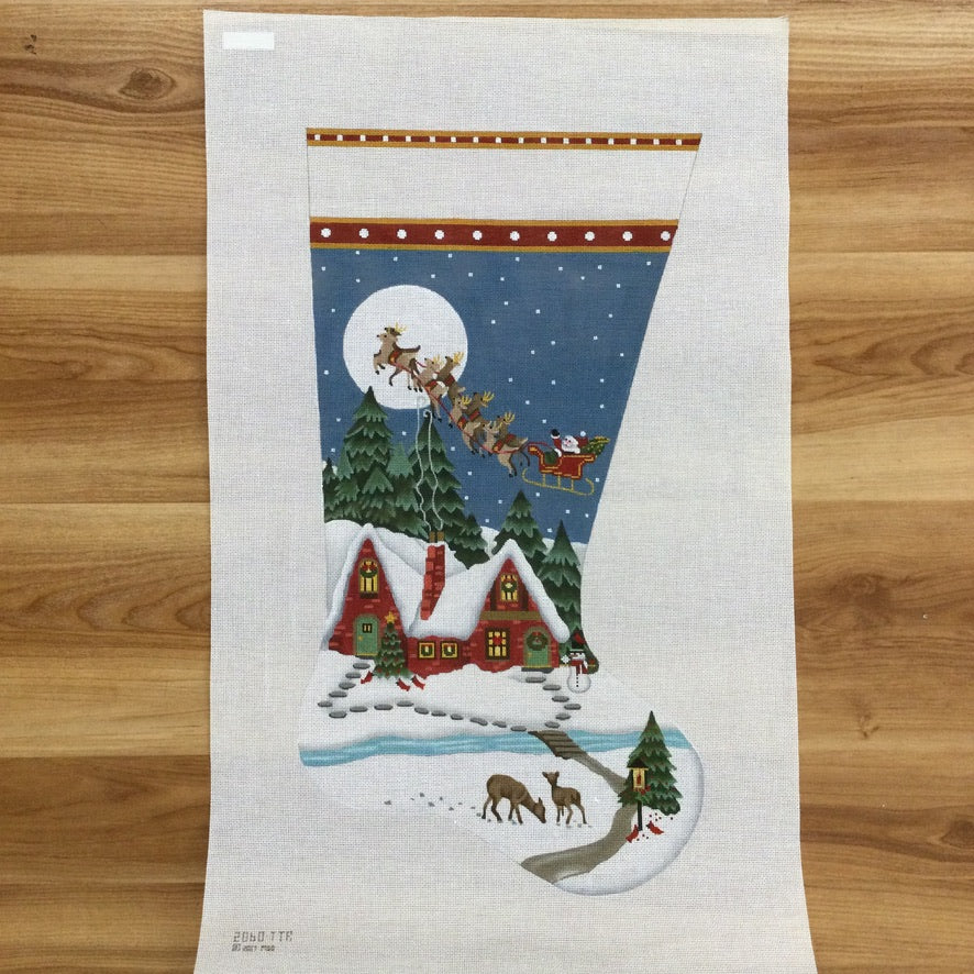Snowy Red House Stocking Canvas - KC Needlepoint
