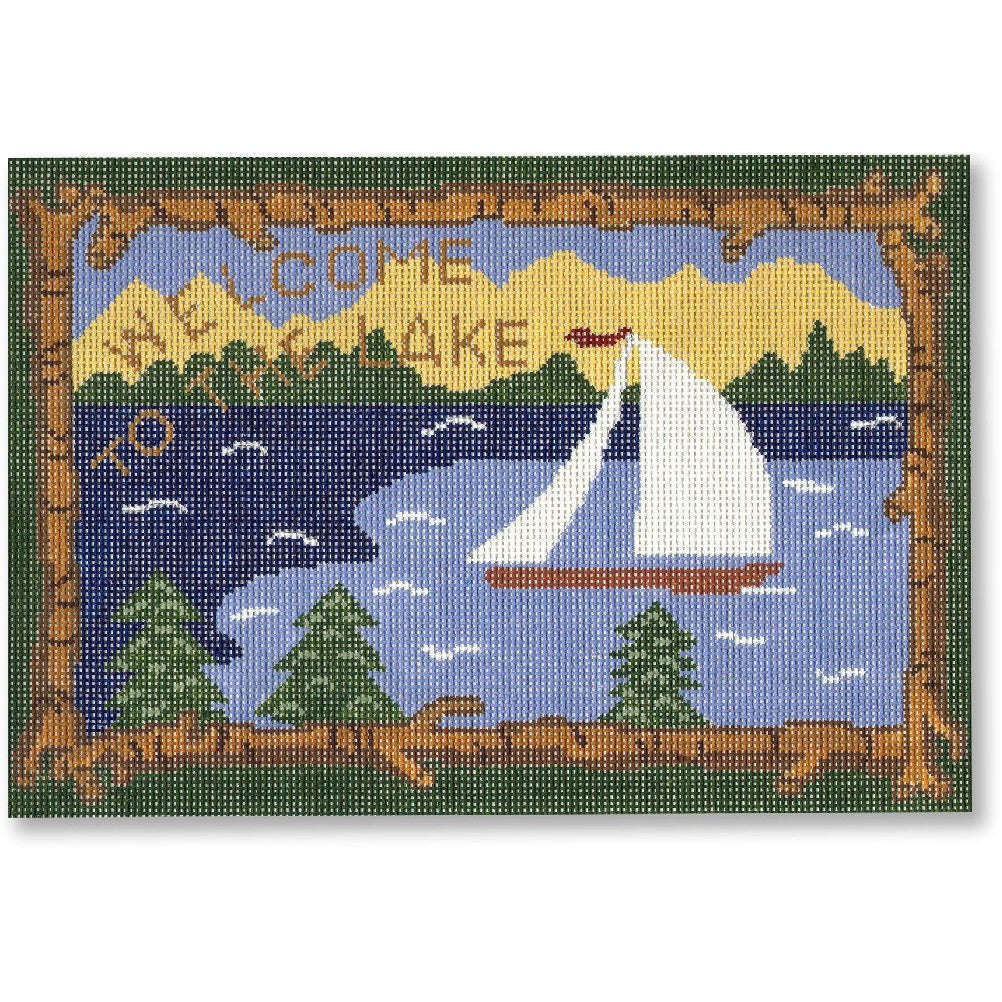 Welcome to the Lake Canvas-Needlepoint Canvas-CBK Needlepoint-KC Needlepoint