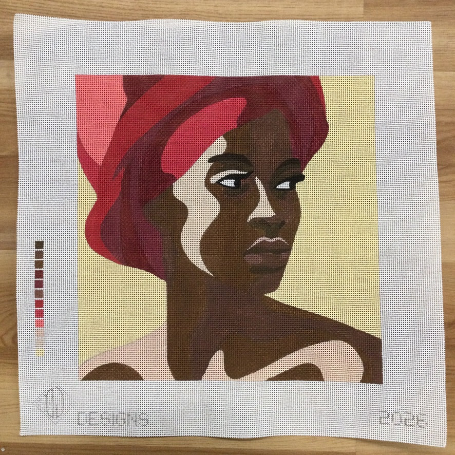 Woman with Red Turban Canvas - KC Needlepoint
