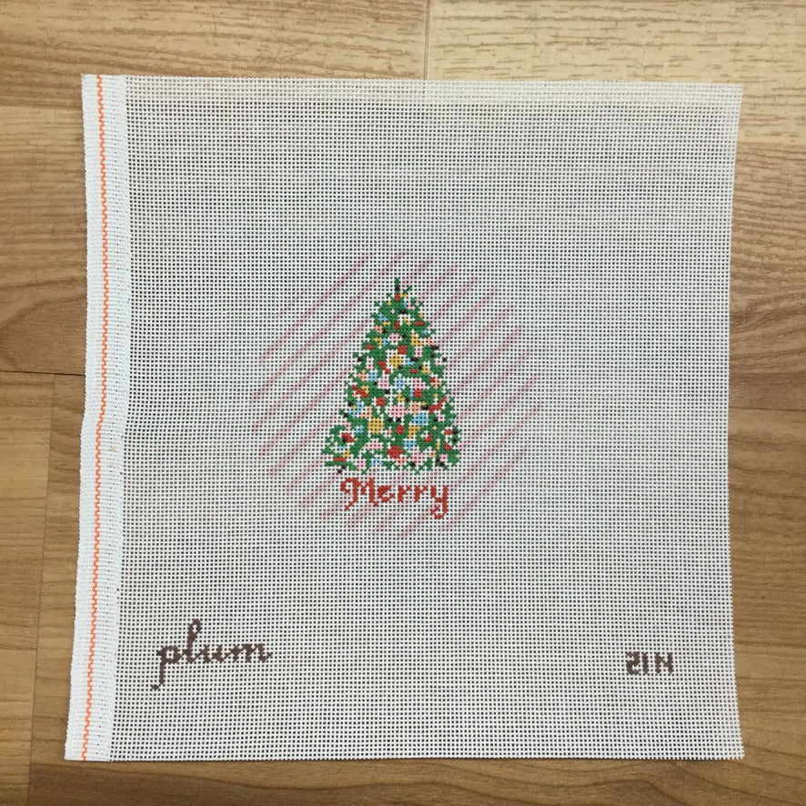 Plum Christmas Merry Round Canvas - needlepoint