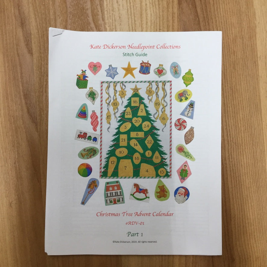 Advent Calendar Christmas Tree Needlepoint Stitch Guide - needlepoint