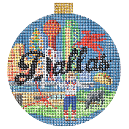 Dallas Travel Round Canvas