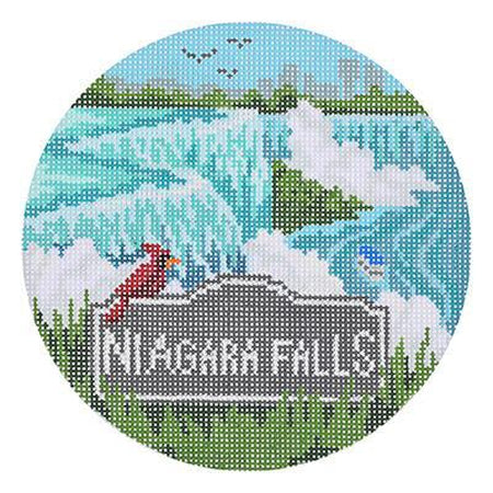 Niagara Falls Travel Round Canvas - needlepoint