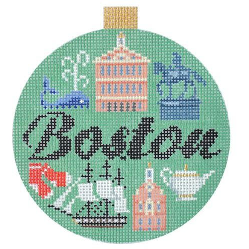 Boston Travel Round Needlepoint Canvas - needlepoint