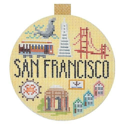 San Francisco Travel Round Needlepoint Canvas-Needlepoint Canvas-Kirk and Bradley-KC Needlepoint