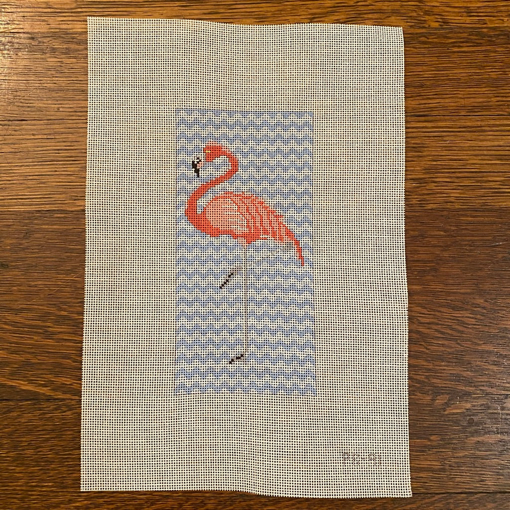 Pink Flamingo Canvas - needlepoint