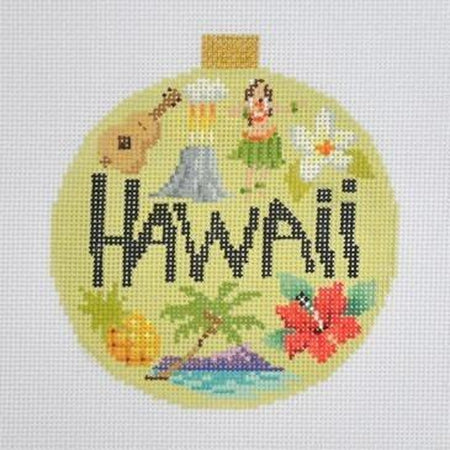 Hawaii Travel Round Needlepoint Canvas-Needlepoint Canvas-Kirk and Bradley-KC Needlepoint