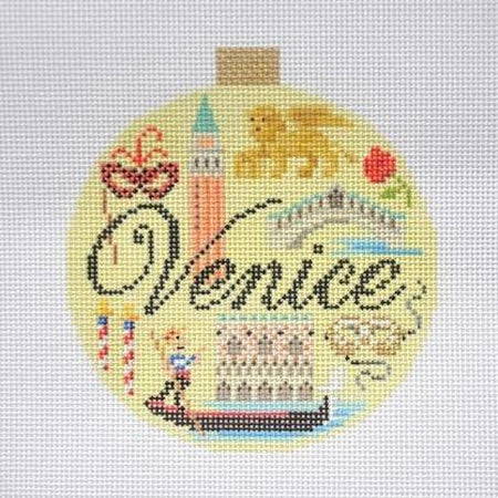 Venice Travel Round Needlepoint Canvas-Needlepoint Canvas-Kirk and Bradley-KC Needlepoint