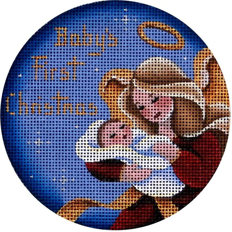 Baby Boy's First Christmas Angel Round - KC Needlepoint