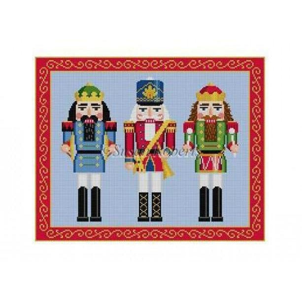 Nutcracker Trio Needlepoint Canvas-Needlepoint Canvas-Susan Roberts-KC Needlepoint