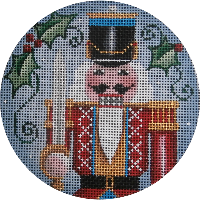 Nutcracker Soldier Round-Needlepoint Canvas-Rebecca Wood Designs-KC Needlepoint