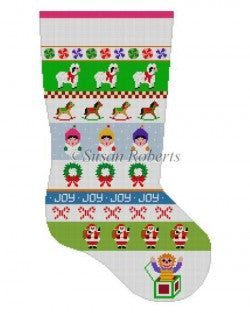 Caroler Stripe Stocking Canvas-Needlepoint Canvas-Susan Roberts-KC Needlepoint