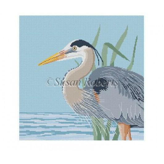 Great Blue Heron Canvas - needlepoint