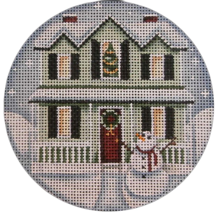 Green Christmas House Round - needlepoint