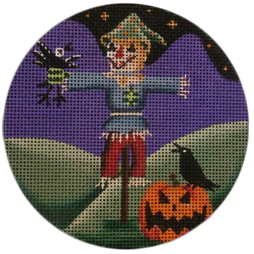 Scarecrow Round Canvas-Needlepoint Canvas-Rebecca Wood Designs-KC Needlepoint