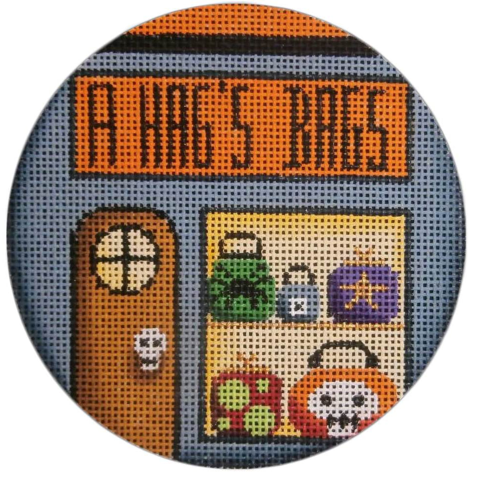 A Hag's Bags Round Canvas - needlepoint