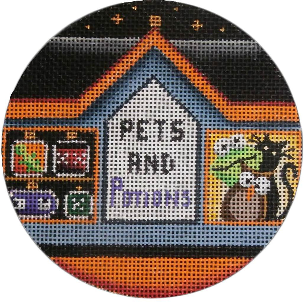 Pets and Potions Round Canvas-Needlepoint Canvas-Rebecca Wood Designs-KC Needlepoint