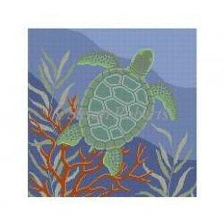 Seaweed Turtle Pillow Canvas-Needlepoint Canvas-Susan Roberts-KC Needlepoint
