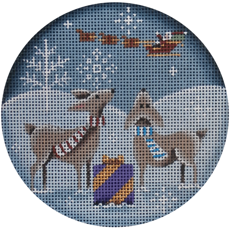 There He Goes Round Canvas - needlepoint