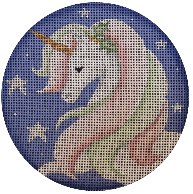 She Unicorn Round - needlepoint
