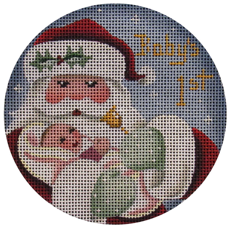 First Christmas Girl Round-Needlepoint Canvas-KC Needlepoint