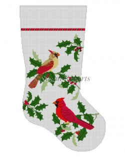 Cardinals in Holly Stocking Canvas - needlepoint