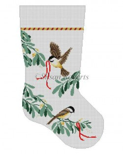 Chickadees Stocking Canvas-Needlepoint Canvas-Susan Roberts-KC Needlepoint