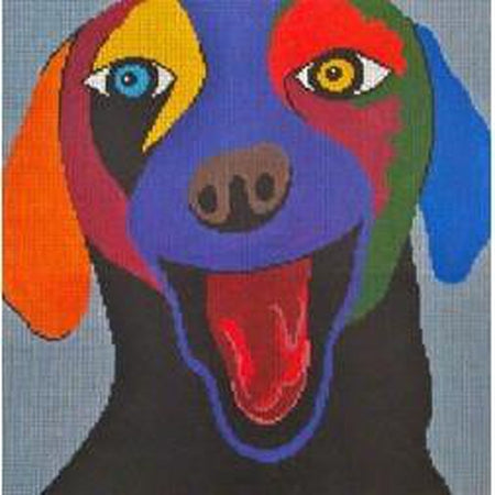 Happy Dog on Gray Canvas-Needlepoint Canvas-Patti Mann-KC Needlepoint