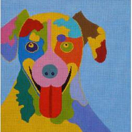 Dog, Big Tongue on Blue Canvas - needlepoint