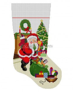 Shh Santa with Bag of Toys Stocking Canvas-Needlepoint Canvas-Susan Roberts-KC Needlepoint
