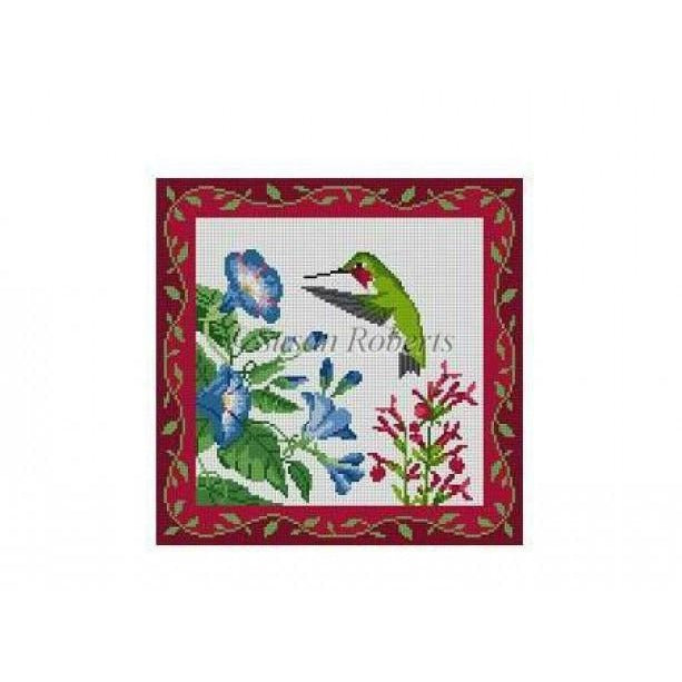Hummingbirds at Morning Glories Canvas-Needlepoint Canvas-Susan Roberts-KC Needlepoint