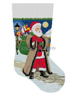 Santa Coming Up Sidewalk Stocking Canvas-Needlepoint Canvas-Susan Roberts-KC Needlepoint