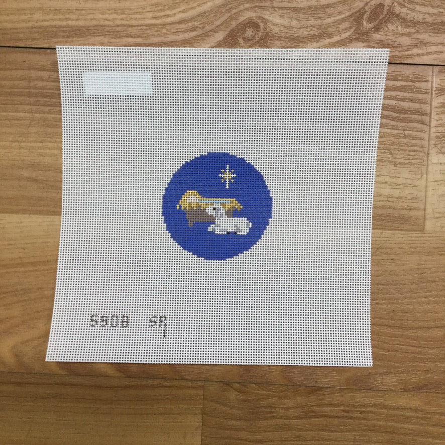 Creche with Lamb Round Canvas - needlepoint