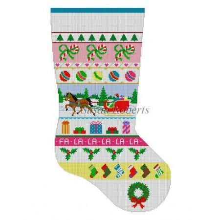 Sleigh Ride Stripe Stocking Canvas-Needlepoint Canvas-Susan Roberts-KC Needlepoint