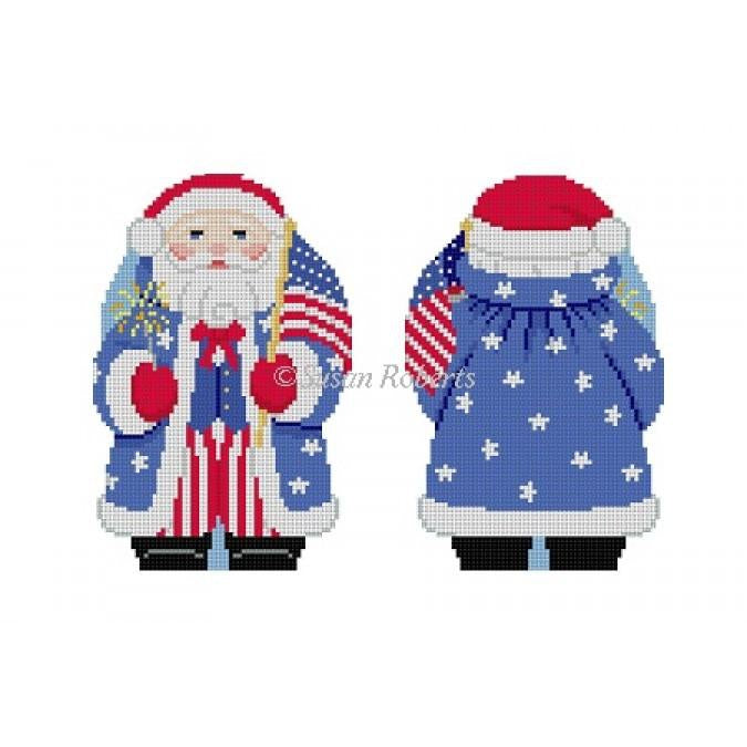 Stars & Stripes Santa 2 Sided Canvas-Needlepoint Canvas-Susan Roberts-KC Needlepoint