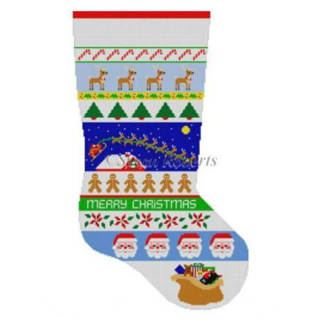 Sleigh Over Roof Top Stripe Stocking Canvas - needlepoint