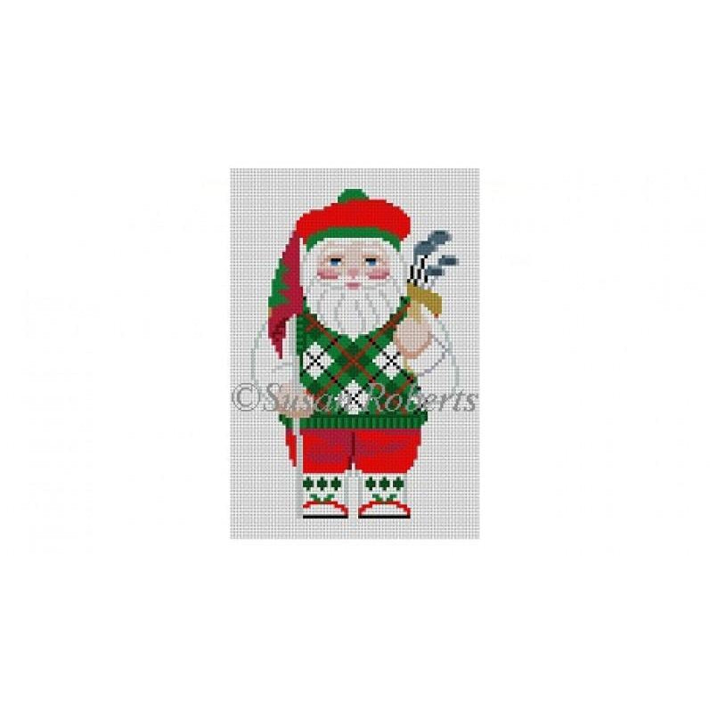 Golfing Santa Canvas-Needlepoint Canvas-Susan Roberts-KC Needlepoint