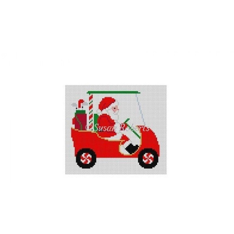 Golf Cart Santa Canvas-Needlepoint Canvas-Susan Roberts-KC Needlepoint