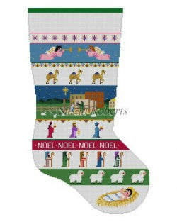 Nativity Stripe Stocking Canvas-Needlepoint Canvas-Susan Roberts-KC Needlepoint