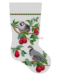 Partridge in Red Bartlett Pear Tree Stocking Canvas-Needlepoint Canvas-Susan Roberts-KC Needlepoint