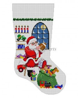 Sitting Santa in Front of Window Stocking Canvas-Needlepoint Canvas-Susan Roberts-KC Needlepoint