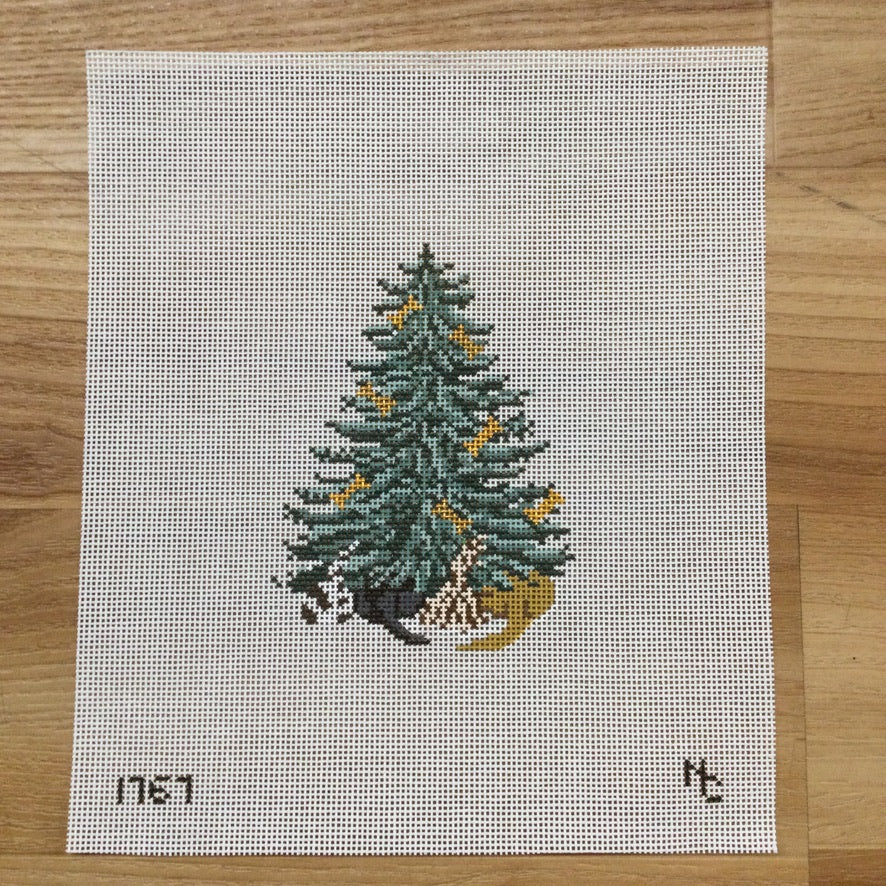 Dog and Bone Christmas Tree Canvas - needlepoint
